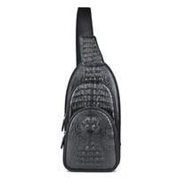 Wholesale Men S Leather Messenger - Vittas Grazov Crocodile Leather Men 's Corset Shoulder Messenger Bag Fashion Casual Sports Bag Mountaineering Bag