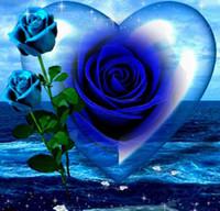 Wholesale Rose Paintings - Diamond embroidery blue rose 5D diy diamond painting cross stitch full round diamond mosaic flowers painting 30*30cm