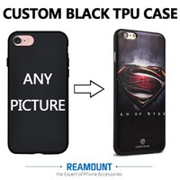 Wholesale Pictures Logos - 3D DIY Relif Custom Company LOGO & Picture Black TPU Shell Phone Case Cover for iphone 7 7plus Mobile Phone Case