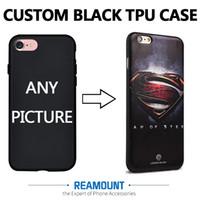 iphone caso de imagen personalizada al por mayor-DIY Custom Company LOGO Picture Black TPU Shell Funda para teléfono para iphone 7 7plus Funda para teléfono móvil