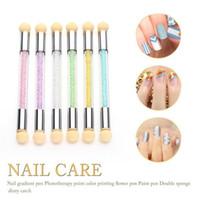 Wholesale Glitter Nail Art Pens - Set Glitter Powder Picking Dotting Gradient Pen Brush + 2 Sponge Nail Art Tools Hot Sale