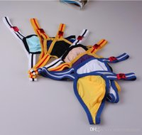 Wholesale Gay Mens Underwear Brands - Mens Jockstrap G String Jock Strap Underwear Thong Men Sexy Sleepwear Male Thong Penis Pouch Gay Wear Brand Bikini Shorts