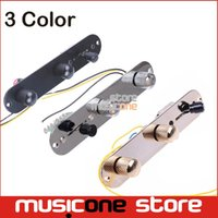 Wholesale Guitar Prewired - Wholesale- Chrome Gold Black 3 Way Wired Loaded Prewired Control Plate Harness Switch Knobs for TL Tele Telecaster Guitar Parts