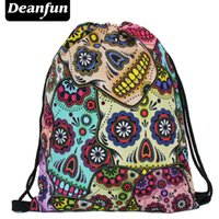 Wholesale S3 Skull - Wholesale- Deanfun Daily backpack unisex mexican skull women backpacks freeshipping blue softback 3d print polyest s3