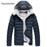 толстая термобумага оптовых-Wholesale- Mountainskin Men Winter Jacket Hooded Men Parkas Casual Warm Male Hoodies Fashion Thick Thermal Coats  Clothing LA142