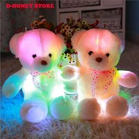 Wholesale Night Shine - 2017 High Quality LED Night Light Luminous Teddy Bear Cute Shining Bear Plush Toys Baby Toys Birthday Gifts Valentines