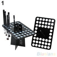 Wholesale Portable Air Brush - Wholesale-Portable Folding Collapsible Air Drying Makeup Brush Acrylic Rack Holder 4CWG