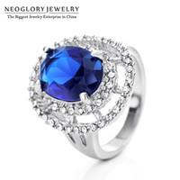 Wholesale Dinner Plates Wedding - Blue Zircon Rhinestone Wedding Rings for Women Romantic Light Luxurious Jewelry New 2017 Dinner Party Neoglory