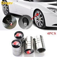 Wholesale Caps For Wheels - Car Stying Wheel Tire Valves Tyre Stem Air Caps Cover case for Audi Sline Car Emblems Badges Car Accessories 4PCS LOT
