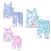 Wholesale Boys Grid Set Suits - 2017 INS grid set Kids girl lattice outfits Petals side big bow vest and pants suit baby clothes A132