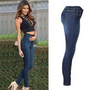 xxl hohe taillenjeans großhandel-Hohe Taille Jeans Denim Jeans Dünne Dünne Jeans Stretch Bleistift Hosen Damen Damen Mode SexyPlus Größe S-XXL