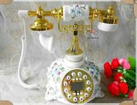 Wholesale Telephones Antique Vintage Style - ANENG Retro Vintage Antique Style Floral Ceramic Home Decor Desk Telephone Phone Vintage Wood Home Fitted Landline