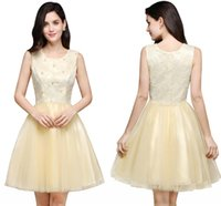 Wholesale Cheapest Cocktails - 2018 New Arrival Cheapest Light Yellow Short Homecoming Dresses Crew Neck Sleeveless Tulle Mini Cocktail Girls Gowns CPS651
