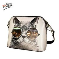Wholesale Wholesale Cat Bags - Wholesale-Hot Sale 2016 Cats Printing Women Handbag Shell Bag Women PU Leather Messenger Bag Women Small Bag WLHB1116