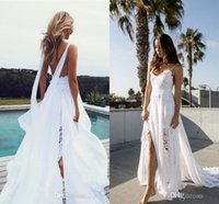 Wholesale Discount Short Simple Wedding Dresses - 2017 Lace Chiffon Split Beach Holiday Wedding Dresses With Ribbon Sexy Spaghetti Backless Flowing Bohemian Bridal Wedding Gowns Discount