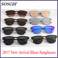 Wholesale Flashing Fashion - 2017 New Arrival 3576N BLAZE Sunglasses for Women Fashion Flash Mirror Sunglasses Soscar Brand Designer Sunglasses with Original Leather Box