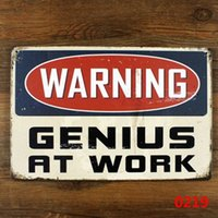 Wholesale Genius Home - Wholesale- funny retro metal tin sign for home office wall decor , warning genius at work Metal Craft Vintage Cafe Decor