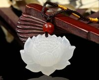 Wholesale Jade Carved Flower Pendant - 100% Natural Hand-carved Chinese Hetian Jade Pendant Lotus Flower Free Necklace