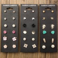 Wholesale Wholesale Fashion Stud Earring Set - 2017 new European and American 6 pairs of combination earrings exquisite fashion wild set earrings wholesale free shipping