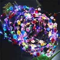 taç takma toptan satış-LED Gelin Kadınlar Çiçek Taç Saç Bandı Düğün Çiçek Kafa Garland Festivali Şerit Yay Çiçek Çelenk Headdress
