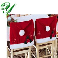 Wholesale Party Folding Chairs - Banquet dining Chair Covers for party folding chair cover Christmas decoration red flock 57*46cm Holiday xmas ornament santa claus