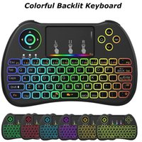 Barato Teclado Qwerty Para Laptop-H9 Mini Keyboard Hand-hold 2.4GHz Wireless QWERTY Teclado Remote Controller Air Mouse Combo para Desktop Laptop com RGB Backlit