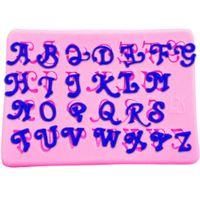 silikon ingiliz kek kalıbı toptan satış-Silikon kalıp Sanat İngilizce harfler şekli Fondan kek kalıbı Dekorasyon araçları 9.5 * 6.1 * 0.4 cm