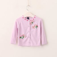 Wholesale Girls Cardigan Flowers Kids Outwear - Everweekend Kids Girls Knitted Bow Sweet Cute Cardigans New Autumn Fashion Flowers Korean Open Stitch Coats Outwears