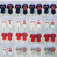 Wholesale Boston Sox - 2017 Men's Boston Red Sox 34 David Ortiz 15 Dustin Pedroia 50 Mookie Betts 2 Xander Bogaerts 45 Pedro Martinez baseball jersey