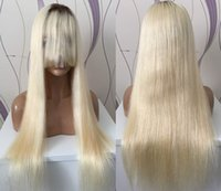 Wholesale Blond Bangs Wig - 100 Human Hair Blond Virgin European Hair 24inch Ombre 4 613 Blonde 4X4 Silk Top Full Lace Wig with Bang Free Shipping