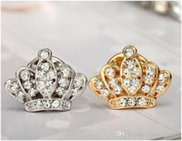 Wholesale Small Wedding Crowns - New hot christmas pins Fashion Crystal Crown pins small collar men 's suit brooches free shipping