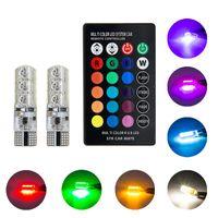 194 led birne farbe großhandel-5050 SMD RGB T10 194 168 W5W Auto T10 RGB LED Birne Mit Fernbedienung Blitz / Strobe Lesekeil Licht Lampe Multi Color RGB