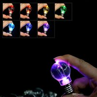 Wholesale Bulb Incandescent - Three colour Changing Led Light Mini Bulb Torch Keyring Keychain mini led keychain bulb LED KEY RING BULB