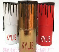 Wholesale Makeup Brush Set Red - New Kylie Makeup Brush Cosmetic Foundation BB Cream Powder Blush 12 pieces Makeup Tools Black   red   Gold Free Shipping