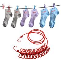 Wholesale 185CM Durable Wild Travel Portable Windproof Elastic Clothesline Clips Hanger Drying rack clothes hanging rope line