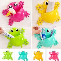 Wholesale Frog Covers - Wholesale- Animal Frog Silicone Toothbrush Holder Family Set Wall Bathroom Hanger Suction Storage Holders Racks