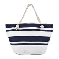 Borsa da spiaggia in tela di canapa Black White Wide Boots Stripes Tipo di chiusura Cerniera Donna Borsa Ladies Sea Travel Bag Casual Totes Borse a tracolla Tote QQ2148