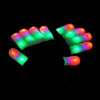 schwarze rave handschuhe großhandel-LED-Blitz Handschuhe fünf Finger Licht Geist Tanz Black Bar Bühne Leistung bunte Rave Light Finger Beleuchtung Handschuhe Glow Flashing