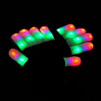 parmak eldiven eldivenleri toptan satış-LED Flaş Eldiven Beş Parmak Işık Hayalet Dans Siyah Bar Sahne Performansı renkli Rave Işık Parmak Aydınlatma Eldiven Glow Yanıp