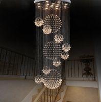 Wholesale Spiral Chandelier Light Crystal - Dia 80cm 100cm 120cm LED Crystal Light Spiral Staircase Lamps Hanging Chandelier Pendant Dorplight Duplex Villa Living Room Lighting