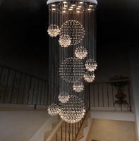grande moderno flush teto luzes venda por atacado-Lustre moderno Grande Luminária de Cristal para Lobby Escada Escadas Foyer Espiral Longa Lustre Lâmpada Do Teto Lavar a Luz Da Escada Montado