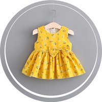 Wholesale Korean Fashion Little Girls Dresses - 3 color 2017 Korean style new arrivals Girls Lovely butterfly knot girl high quality cotton little flower printed dress casual fashion dress