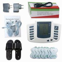 dijital nabız toptan satış-Elektrik Stimülatör Tüm Vücut Relax Kas Dijital Masaj Darbe TENS Akupunktur Tedavisi Terlik ile 16 Adet Elektrot Pedleri