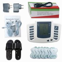 akupunktur hausschuhe großhandel-Elektrostimulator Ganzkörper Entspannen Muskeln Digital Massagegerät Puls ZEHN Akupunktur mit Therapie Slipper 16 Stücke Elektrodenpads