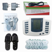 Wholesale Tens Massager Electrodes - Electrical Stimulator Full Body Relax Muscle Digital Massager Pulse TENS Acupuncture with Therapy Slipper 16 Pcs Electrode Pads