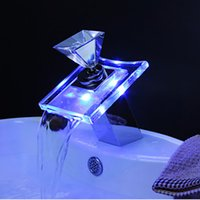 Wholesale Waterfall Faucet Led Sink Wall - Wholesale- Wholesale And Retail Free Shipping LED Waterfall Spout Bathroom Basin Faucet Chrome Brass Glass Vanity Sink Mixer Tap