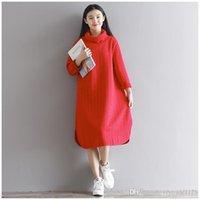 Wholesale Korea Fashion Winter Dress - new autumn styles 2 colors Korea fashion Style fall winter warm long sleeve women split casual dress free shipping