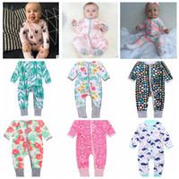 Wholesale Baby Girl Dots Jumpsuit - INS Baby Boys Girls flower Zipper Romper Toddler Floral Dot Jumpsuits Infant Cotton Long Sleeve Spring autumn Suits KKA2417