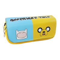 Wholesale Adventure Time Jake Bag - Wholesale- Cartoon Adventure Time with Finn and Jake Pencil Case Bag Student Stationery Pouch Cosmetic Travel Makeup Storage Bag