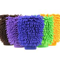 mikro fiber elyaf toptan satış-2zk Kar Neil Fiber Yüksek Yoğunluklu Temizlik Eldiven Fırçalama Araba Çift Taraflı Yıkama Mitt Toz Giderme Mikrofiber Temizlik Eldiven Havlu Renkli R